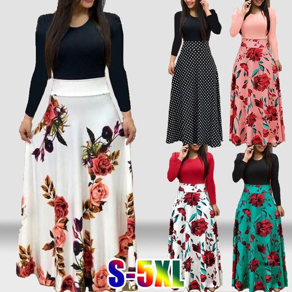 Women, long skirt, Flowers, high waist
