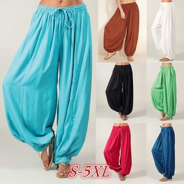 Women Cotton Linen Casual Loose Solid Harem Pants Sports Yoga Trousers Plus Size