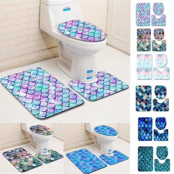 Brilliant 3 Pcs Mermaid Fish Scale Pattern Toilet Cover Seat Cover Mat Bathroom Carpet Doormat Mat Set Creativecarmelina Interior Chair Design Creativecarmelinacom