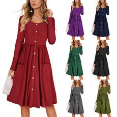 solidcolordre, long dress, Dress, women long dress