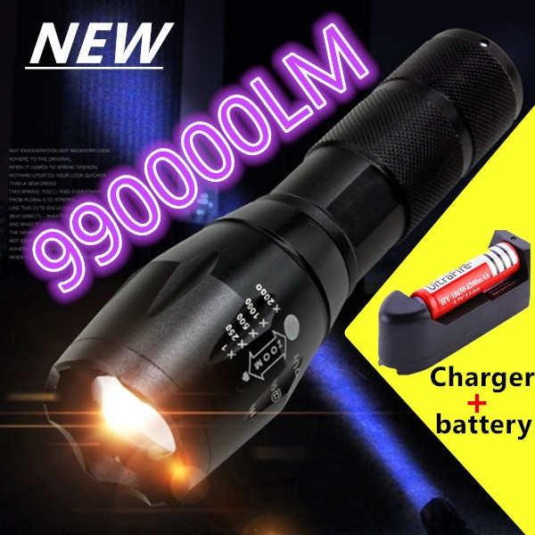 Portable 990000Lumens Ultra Bright - CREE XML T6 LED Tactical Flashlight 5  Modes((Size: T6 Flashlight Only +full set)