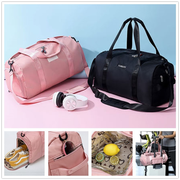 Pink Black Duffel Bag Overnight Top Female Sports Nylon Gym Bags With Shoe Comparment Lady S Fitness Yoga Handbags For Women Over The Shoulder