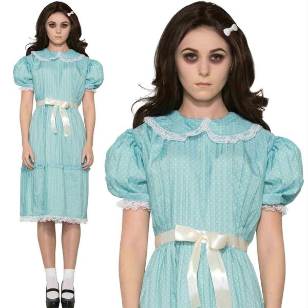 Women Costume Las 80s Creepy Sister The Shining Twins Fancy Dress