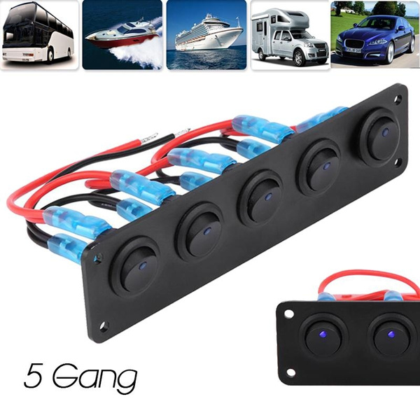 12-24V 5 Gang Round Dash Rocker Toggle Switch Panel LED for RV Boat Yacht Blue