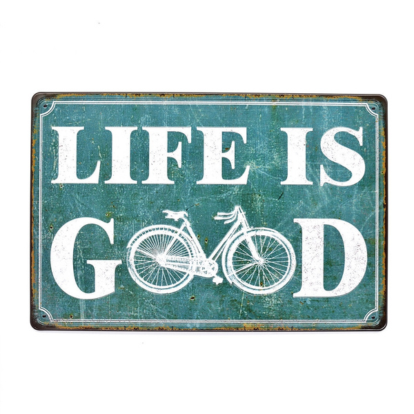 Vintage Tin Signs Life Is Good Metal Embossed Plate Decor Art Wall Poster