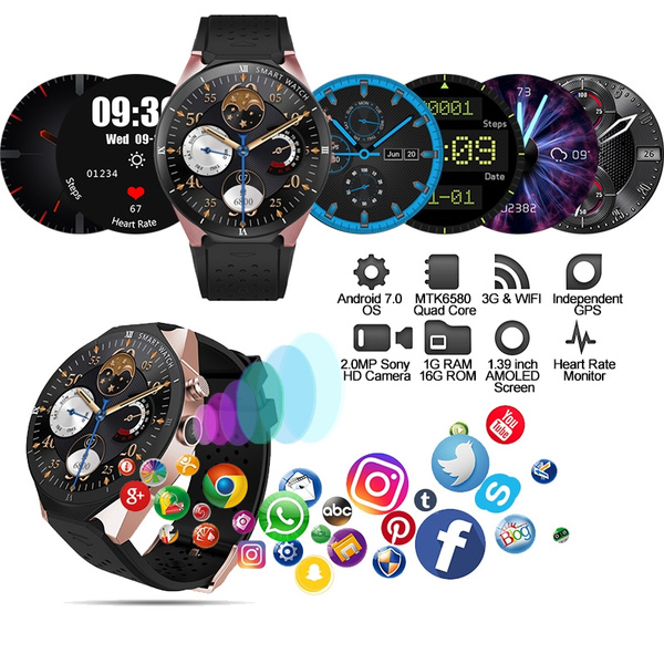 KingWear KW88 Pro Smartwatch Phone 3G Smart Watch Android 7 0 1 39 inch  MTK6580 Quad Core 1GB 16GB 2 0MP Camera GPS Watch Round