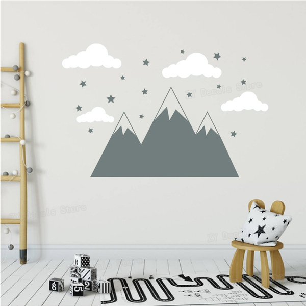 Mountain Decal Cloud Sticker Star Nursery Room Decor Removable Wander Wall Stickers Home Art Decoration Kids