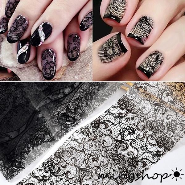 art, diynaildecoration, Beauty, black lace