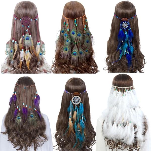 Bohemian Hippie Headband Dream Catcher Feather Headdress Fashion Indian  Peacock Feather Headbands Gypsy Bead Pendant Hairband Hair Accessories
