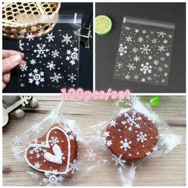 100pcs Set Christmas Snowflake Biscuit Bag Adhesive Plastic Cellophane Cookies Candy Xmas Gift Bag