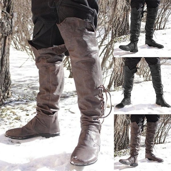 Medieval Vintage Style Men\u0027s Fashion Tall Boots Cosplay Viking Retro Flat  Shoes Renaissance Role Playing Pirate Boots Men Ankle Boots Low Heel