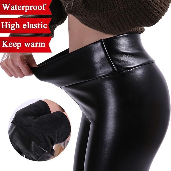 3791b061241034 Women Fashion High Waist Pants PU Leather Waterproof Stretchy ...