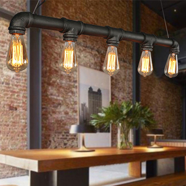 Industrial Steampunk Pipes Pendant Light Fixture Ceiling Rustic Lamp 5 Heads