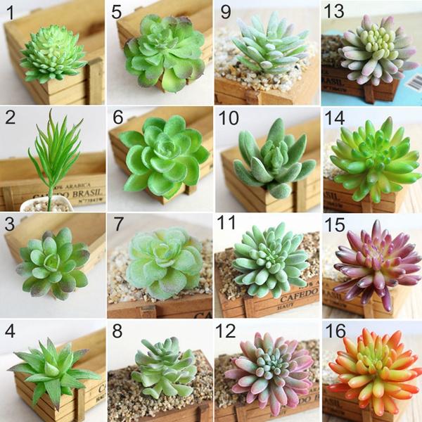16 Types Potted Plants Fake Desktop Cactus Micro Landscape