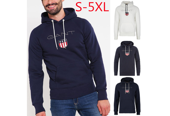 Men Casual Printed Gant Shield Hoodies Print Graphi Fashion Round Neck Cotton Tops S-5XL