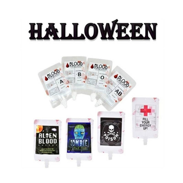 5Pcs Reusable Blood Energy Drink Bag Halloween Pouch Props Vampire Cosplay