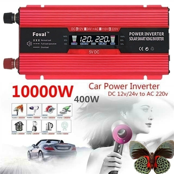 Led Per Auto Esterni.10000w 4000w 1000w Dc12v 24v To Ac110v 220v High Performance Portable Led Vehicle Adapter Outdoor Modified Sine Wave Converter Auto Inverter Car