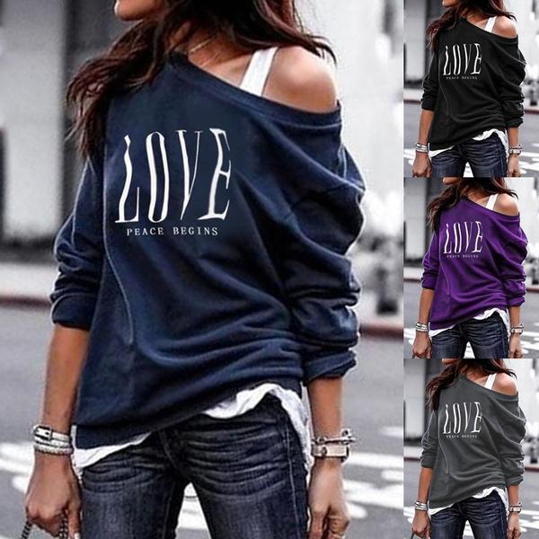fall clothes women, Cotton T Shirt, letter print, Long Sleeve
