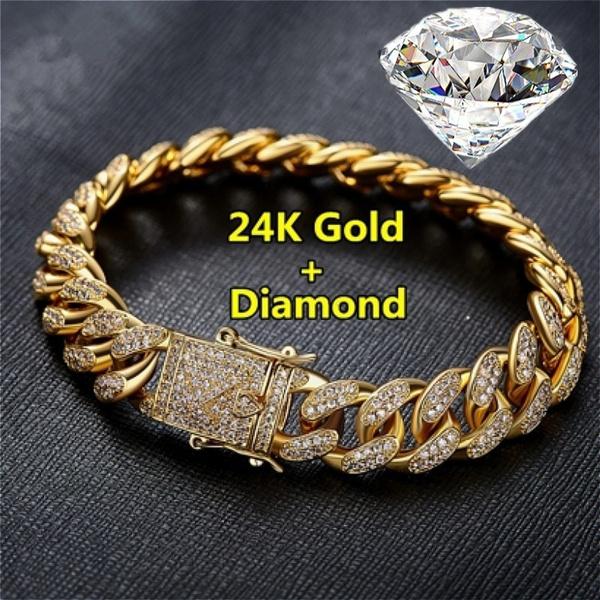 24kgold, DIAMOND, Chain, gold