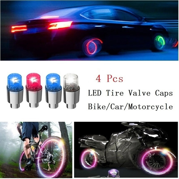 4pcs Bike Car Motorcycle Wheel Tire Tyre Valve Cap Neon LED Flash Light Lamp
