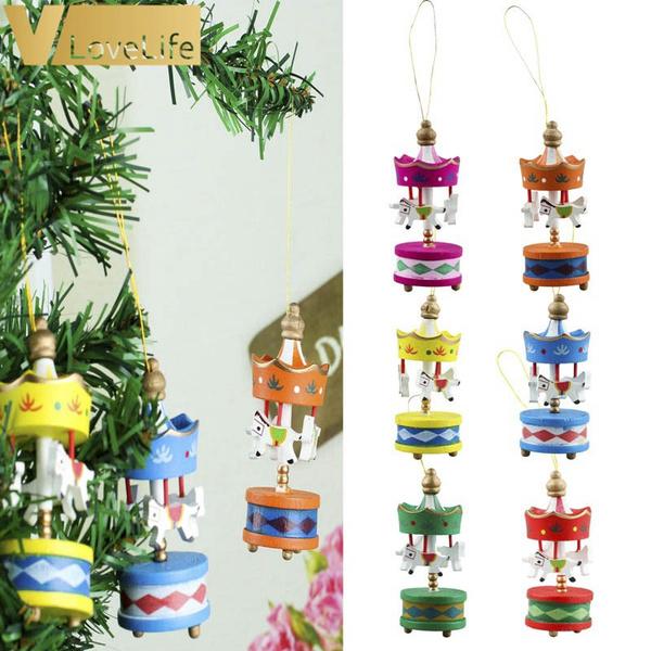 New Year Gifts 6pcs 8 3x3 2cm Christmas Wood Carousel Horse Ornaments Christmas Gifts Ornament Christmas Tree Decoration