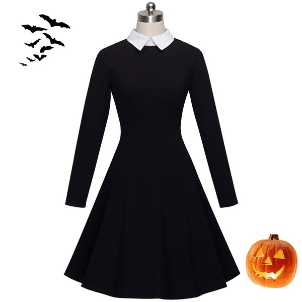 Wednesday Addams Dress Halloween Costumes for Women Black Retro ...