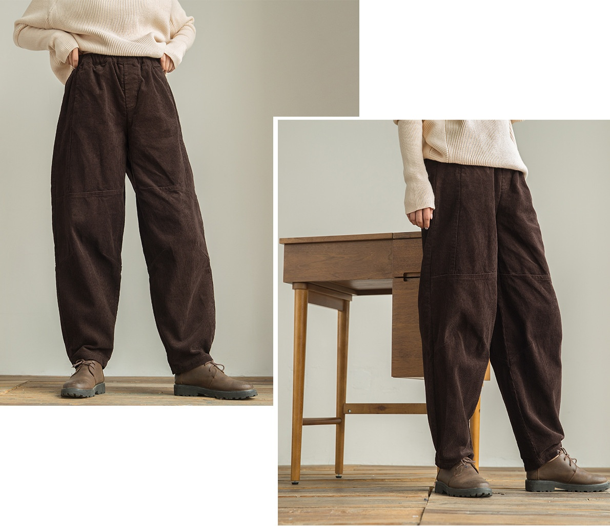 Rétro Baggy Côtelé Vintage Femme Sarouel Pantalon Velours Rayé tQCsdhrx
