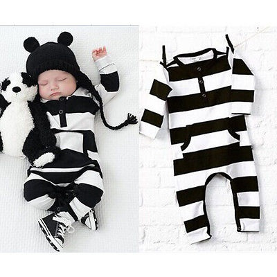 Newborn Infant Baby Boy Girl Long Sleeve Striped Romper Jumpsuit Outfits Clothes