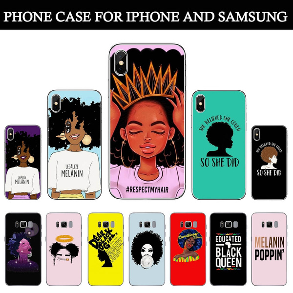 buy popular dcb00 a5dfc Inspirational Melanin Poppin Aba Soft Silicone Phone Case for IPhone XS Max  6 7 8 Plus 5 5s Se 6s Fashion Black Girl Cover for Coque IPhone 7