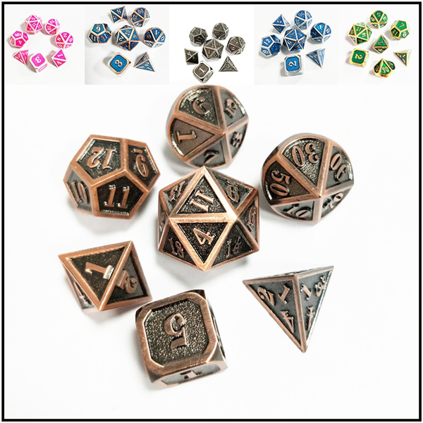 7 Pcs/Set Creative Metal Multi Faced Dice Set, Bar Party Game Dice, Ornaments by Wish
