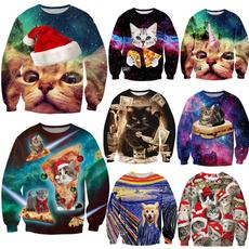 Crewneck Sweatshirt, Funny, Christmas, christmascatsweatshirt