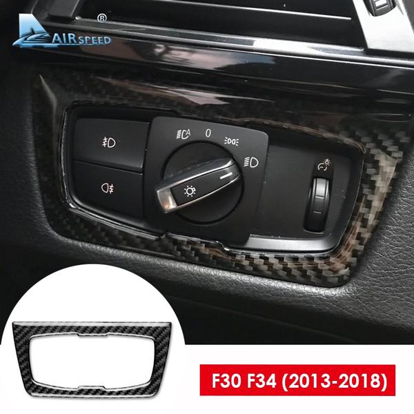 For Bmw F30 320i F34 Gt 3 Series Accessories Carbon Fiber Car Interior Headlight Switch Cover Trim Sticker Decoration