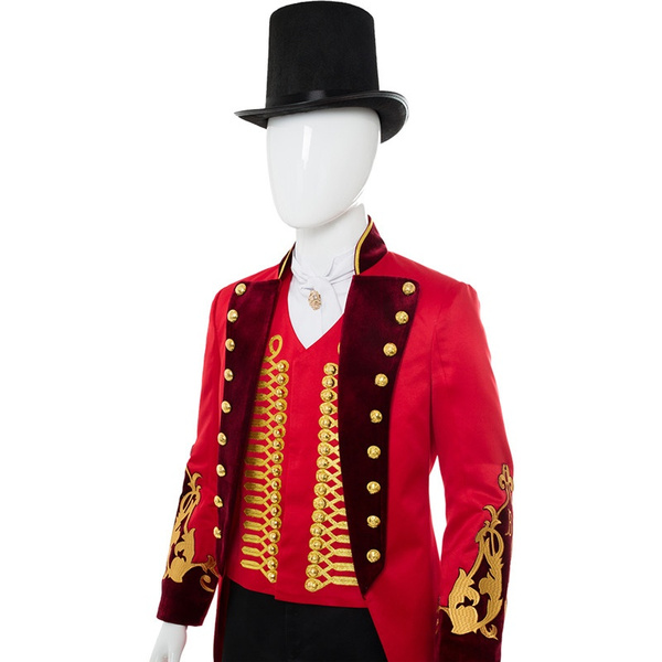 The Greatest Showman P.T Barnum Cosplay Costume Suit Red Uniform Hat