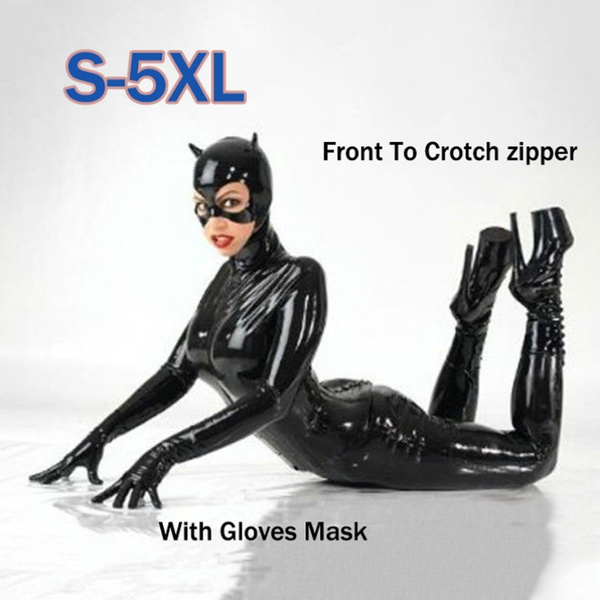 0d106bd665 S-5XL Sexy Hot Female Faux Leather Latex Bodysuit Catwoman Costume ...