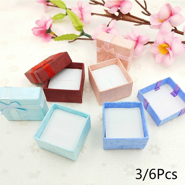 1X Colorful Ring Earring Jewelry Display Xmas Gift Box Bowknot Square Case DI/<t