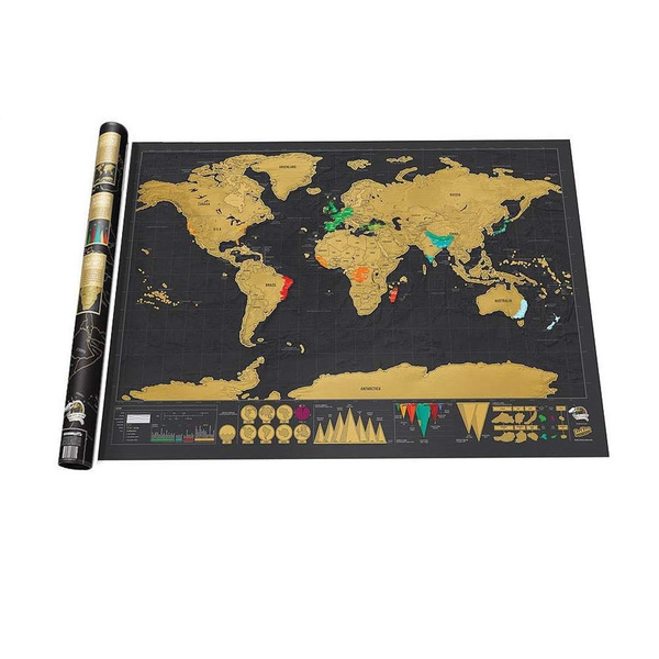 Wish Beautifully Decorated Funny Deluxe Scratch Off World Map
