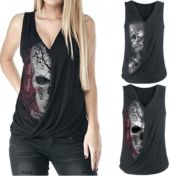 Women Vest, Vest, Fashion, skullprintvest