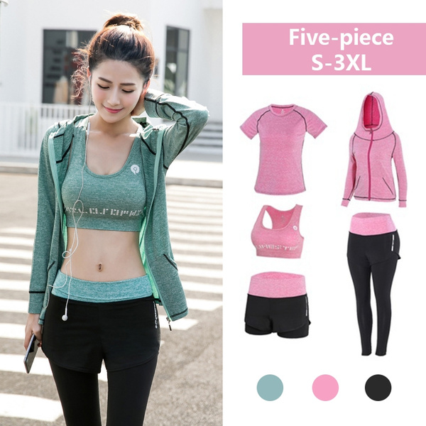 Women Yoga Set Gym Fitness Clothes Tennis Jogging Workout Yoga Leggings Sport Suit Plus Size Bra Sport Leggings Yoga Shorts Top 5 Piece Set Plus Size S 3xl Wish