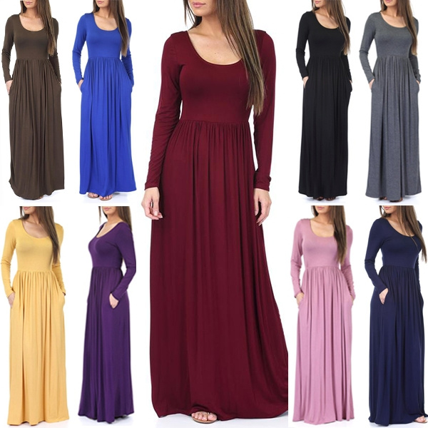 Plus Size, pleated dress, long sleeve dress, solidcolordres