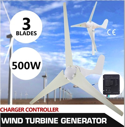 500W Max Power DC12V Wind Driven Generator Wind Turbine Generator Kit with Charge Controller 3 Blades My UrbanBeauty