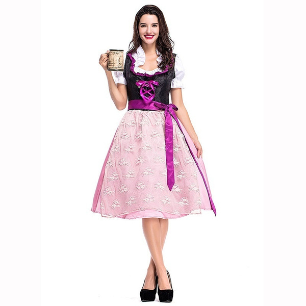 Women Ladies German Oktoberfest Bavarian Beer Costume Outfit Fancy Dress Cosplay