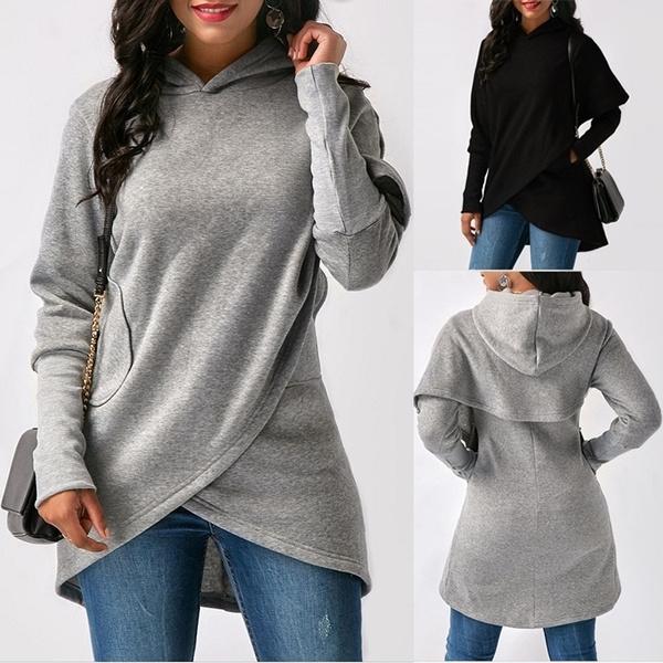 hooded, Winter, Women Blouse, Long Sleeve