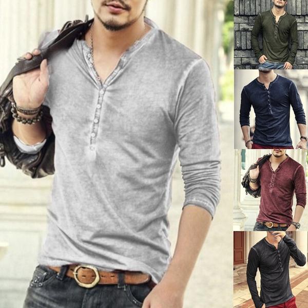 Fashion, Cotton T Shirt, Long Sleeve, slim