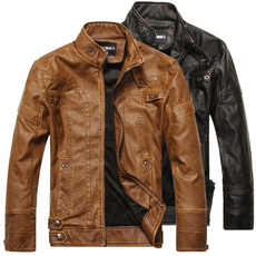 Stand Collar, motorcyclejacket, Fashion, leather