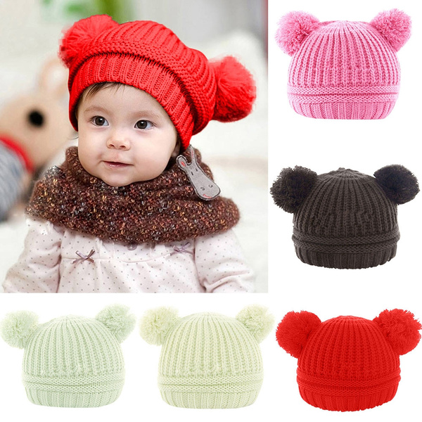 Toddler Baby Boys Girls Winter Keep Warm Crochet Knit Hat Infant Hairball Cap Enfant Bébé Garçon Filles Hiver Garder Au Crochet Tricot Chapeau