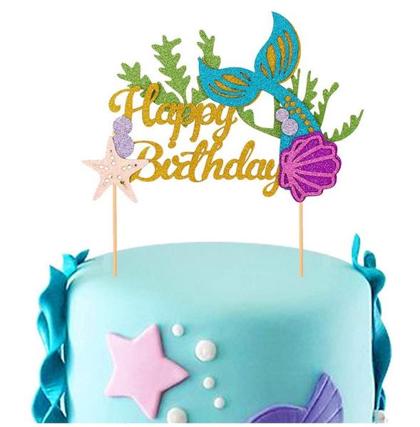 Remarkable 1Set Diy Glitter Happy Birthday Cake Topper Mermaid Tail Shell Personalised Birthday Cards Akebfashionlily Jamesorg