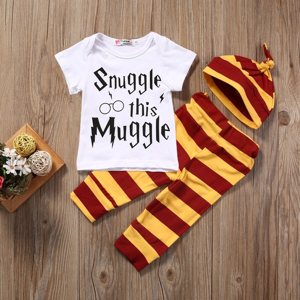 d1ecdb284dbfd Snuggle this Muggle 3PCS Newborn Baby Boy Girl Top T-shirt Rompers Pants  Leggings Striped Outfit Set Clothes
