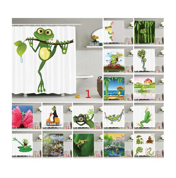 Frog Decor Shower Curtain Set Jolly