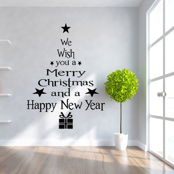 Christmas Wall Decals Removable.Diy Merry Christmas Wall Stickers Decoration Santa Claus Gifts Tree Window Wall Stickers Removable Vinyl Wall Decals Xmas Decor