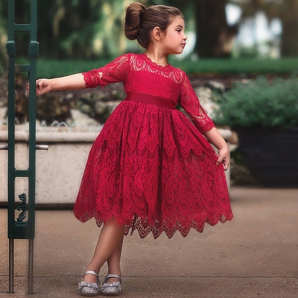 Princess Party Dresses for Kids Girls Charming Lace Red Flower Girl Dress  Christmas Party New Red Dress Children Kids Clothes for Girls